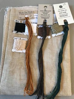 Fabric and Threads for my new Start - Witches Of Salem by Primitive Hare - Tuesday Oct 13, 2020