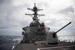 USS Barry (DDG 52) transits waters of the Taiwan Strait, Oct. 14 (U.S. Navy/MCSN Molly M. Crawford)
