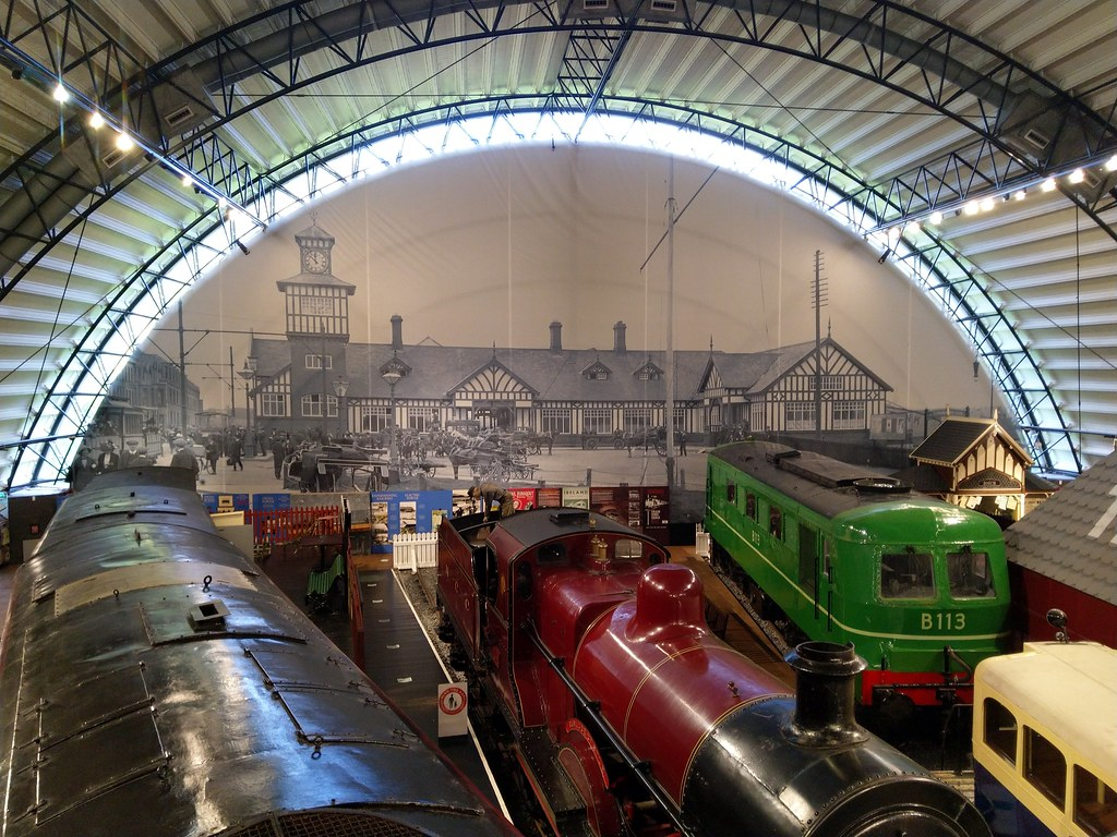Trains on display in the Ulster Transport Museum