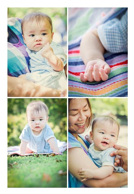公園へピクニック 芝生の上 くつろぐ赤ちゃん