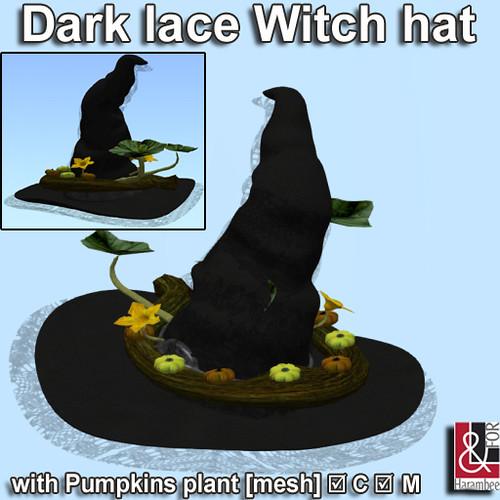 Dark lace Witch hat