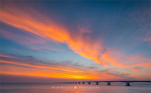 Sunrise at the Zeeland Bridge - Netherlands