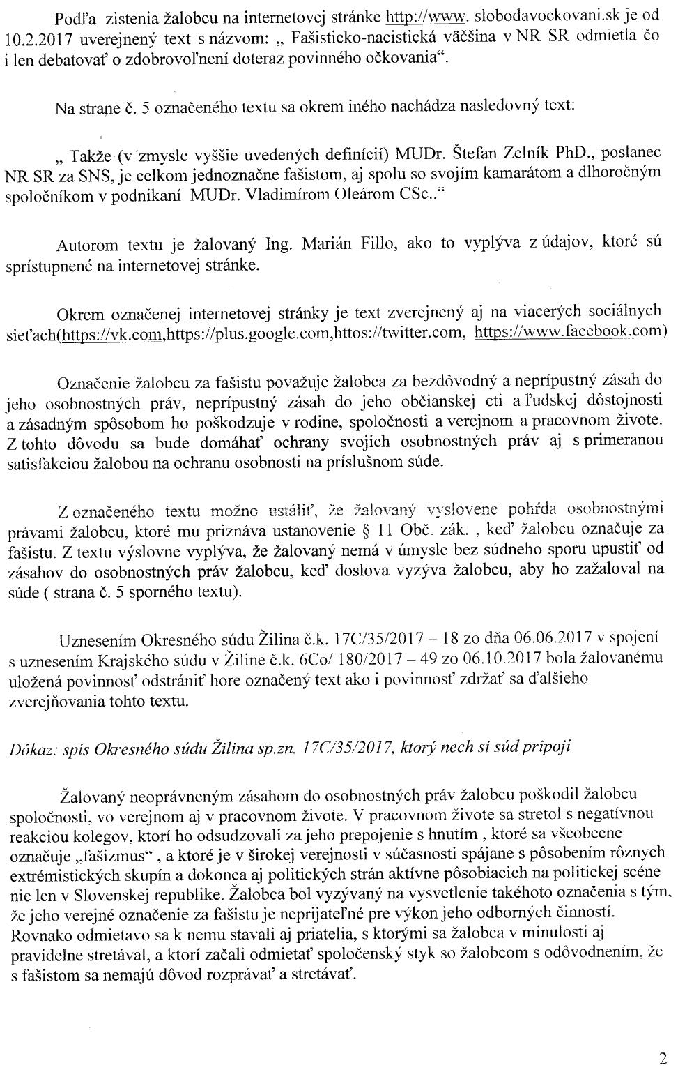 Strana 2 žaloby