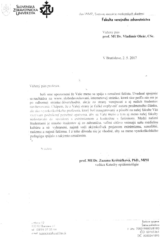List prof. MUDr. Zuzany Krištúfkovej PhD. MPH žalobcovi