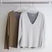 La Boutique Extraordinaire - Majestic Filatures - T-shirts col V extérieur coton/cachemire intérieur 100 % coton - 98 €