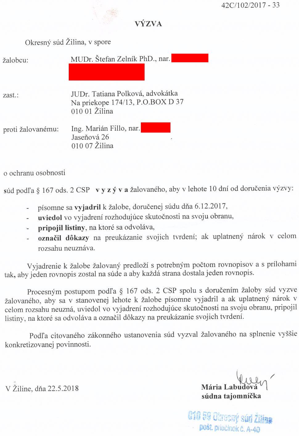 Výzva Okresného súdu Žilina žalovanému