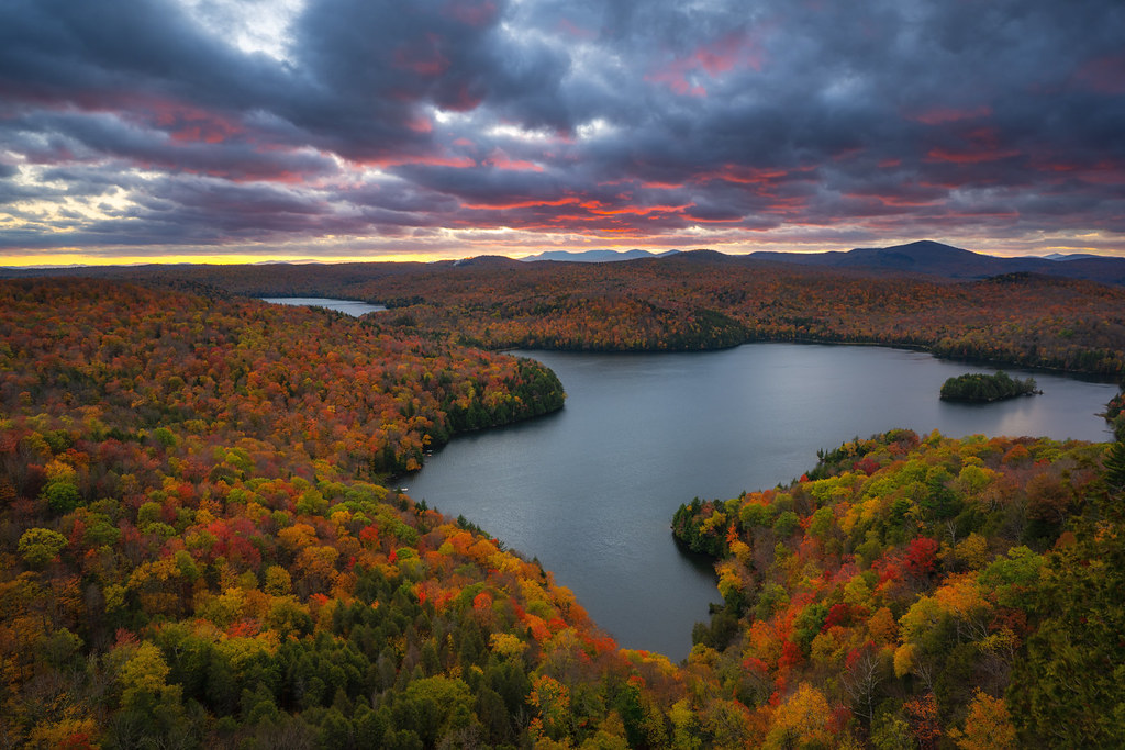 Nichols Pond Surrounded by Fall Foliage