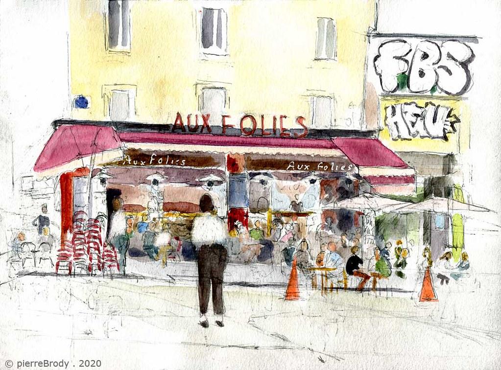 """café """"Aux Folies"""" rue de Belleville, à Paris"""