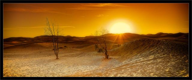 Sunrise over the dunes of Merzouga