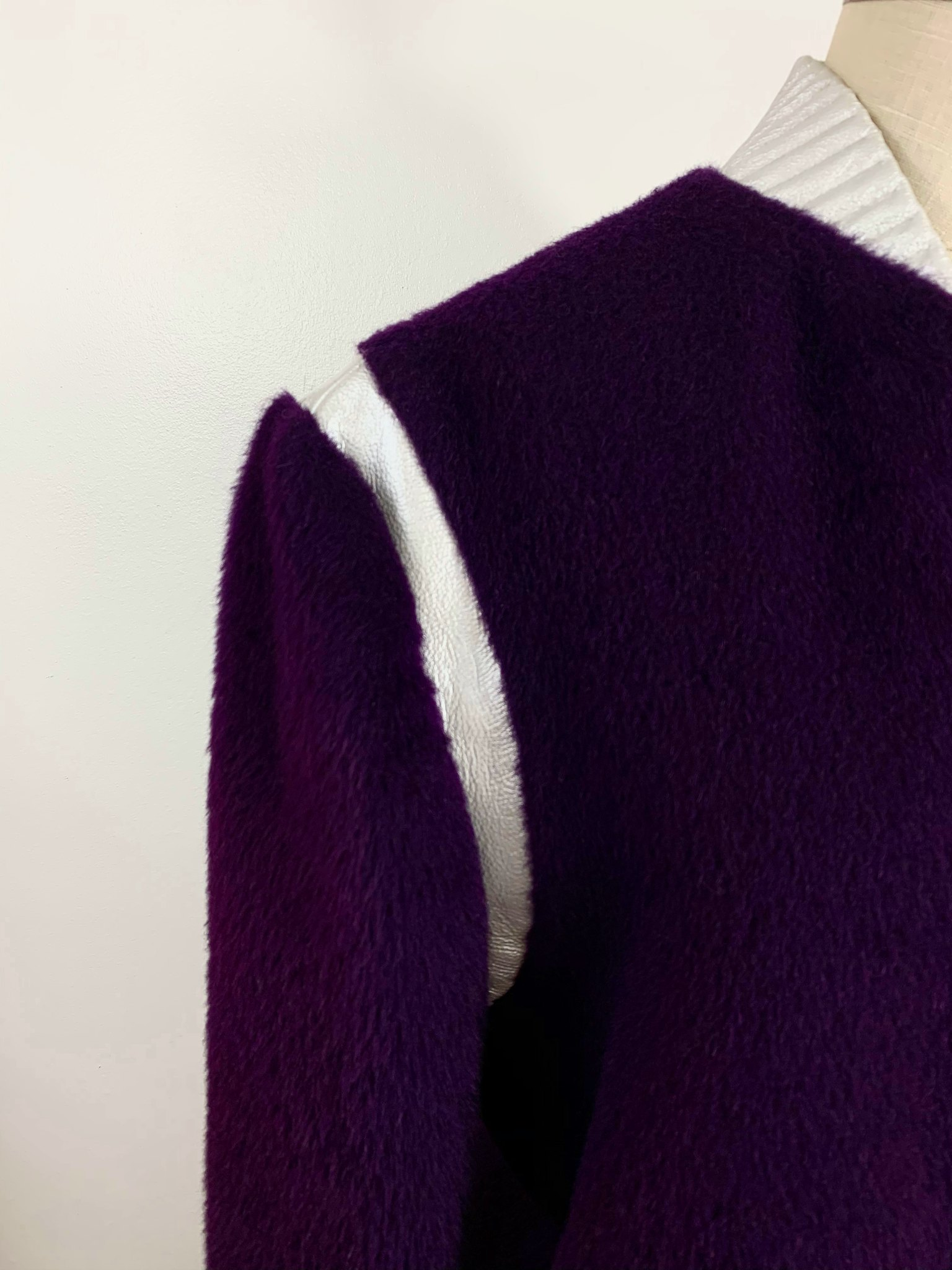 Purple mohair bomber with silver leather accents