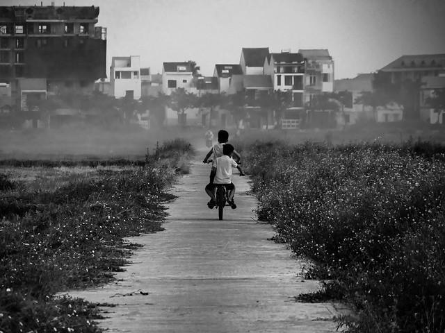 Bike riding through the burning rice fields