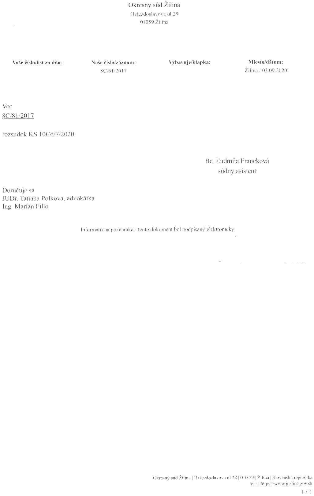 Sprievodný list Okresného súdu Žilina