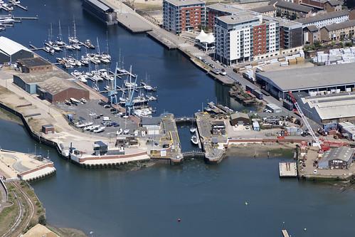 Ipswich aerial image - locks to Haven Marina