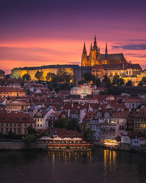 St. Vitus Cathedral at sunset, Prague