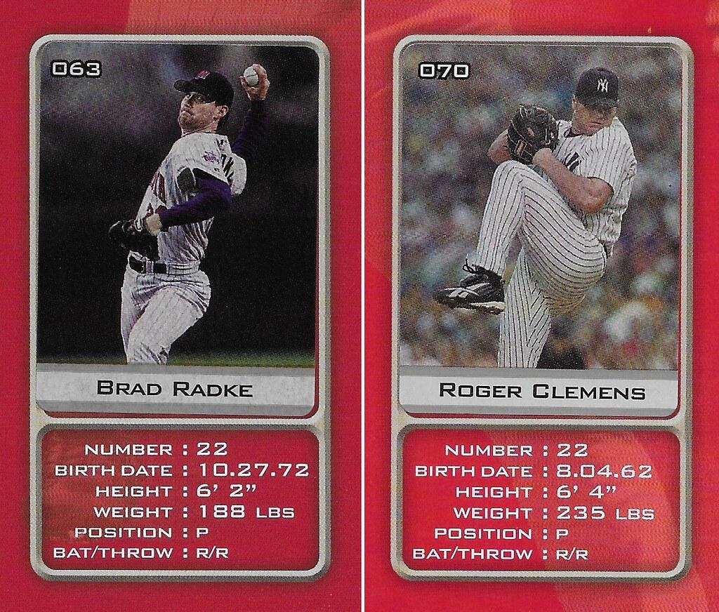 2003 Sports Vault MLB Stickers (Brad Radke-Roger Clemens )