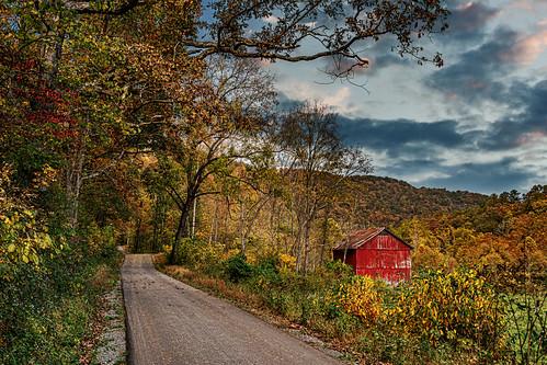 barn redbarn fall fallcolor aurumn road clouds sunset landscape bobbell nikon d800 wv westvirginia monroecounty