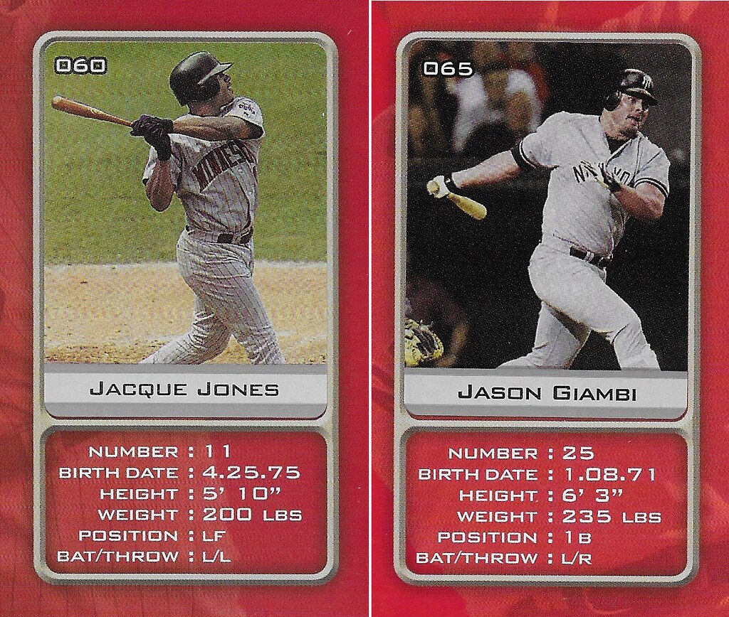 2003 Sports Vault MLB Stickers (Jacque Jones-Jason Giambi )