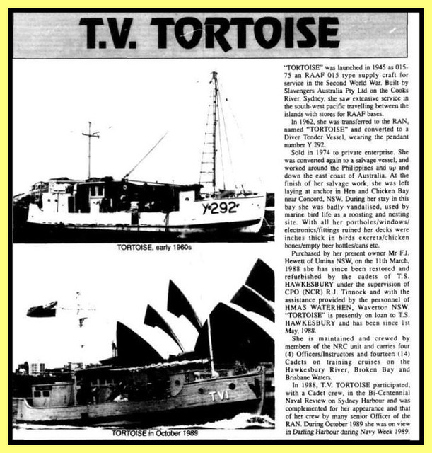 Y292 - HMAS TORTOISE (Built 1945), Moored in Riley's Bay, Ettalong, NSW, 20.5.2015
