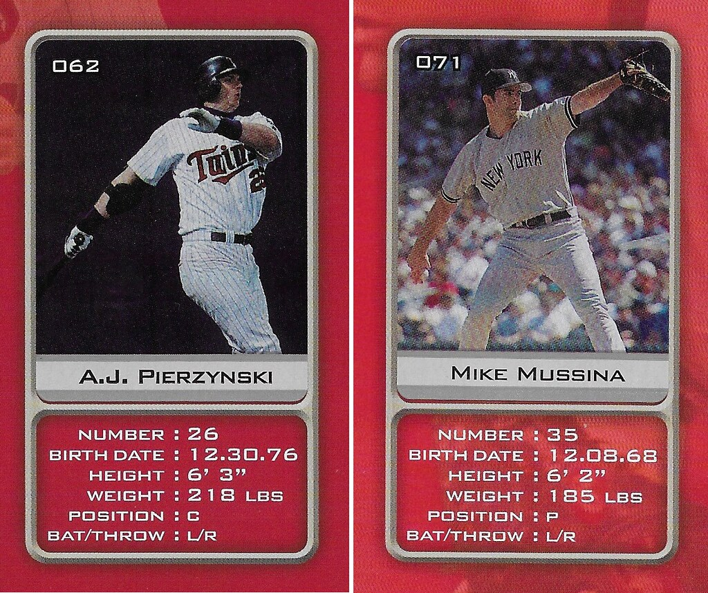 2003 Sports Vault MLB Stickers (A.J. Pierzynski-Mike Mussina)
