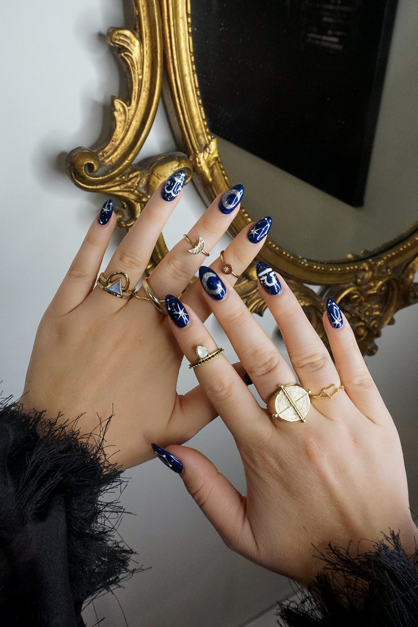 Libra Nails | Zodiac Manicure | Astrological Sign Mani | Navy Sparkle Star Nails | Witchy Halloween Nails | Nail Art | Star Nail Designs | Almond Shape Nails | Fall Nails | Spooky Nails