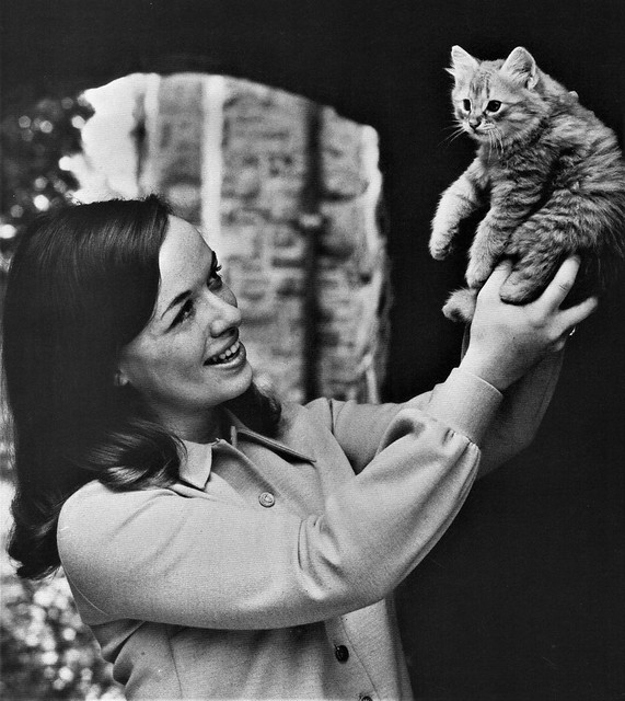 Student at College of New Rochelle, with a cute little kitten in 1968 New York
