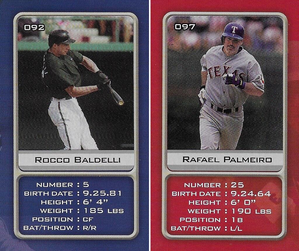 2003 Sports Vault MLB Stickers (Rocco Baldelli-Rafael Palmeiro)