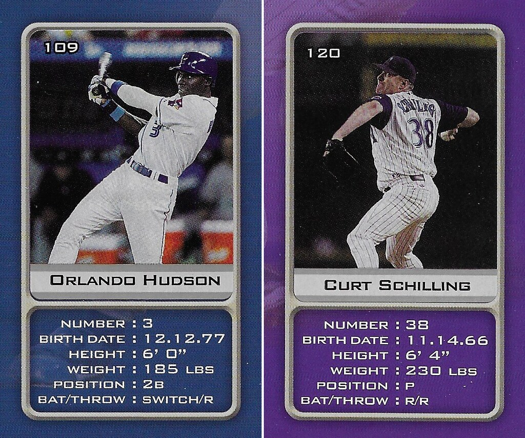 2003 Sports Vault MLB Stickers (Orlando Hudson-Curt Schilling)