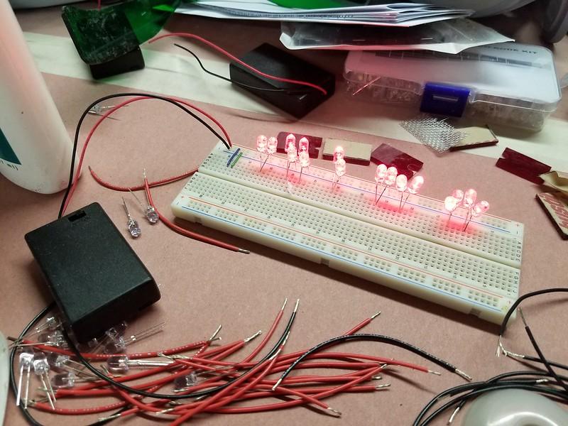 Visor light circuit breadboarded