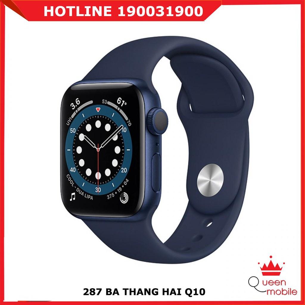 Đồng hồ thông minh Series 6 (2020) LTE 40mm Viền nhôm xanh dương- Dây Cao su xanh dương (Blue Aluminum Case with Deep Navy Sport Band)