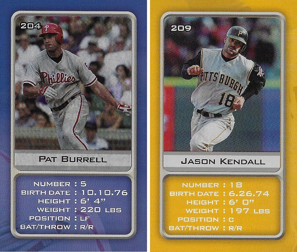 2003 Sports Vault MLB Stickers (Pat Burrell-Jason Kendall)