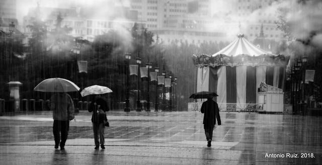 Madrid. La lluvia sucede en el pasado. Borges.