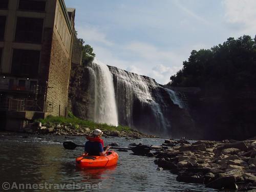 Kayaking up toward the Lower Falls, Rochester, New York