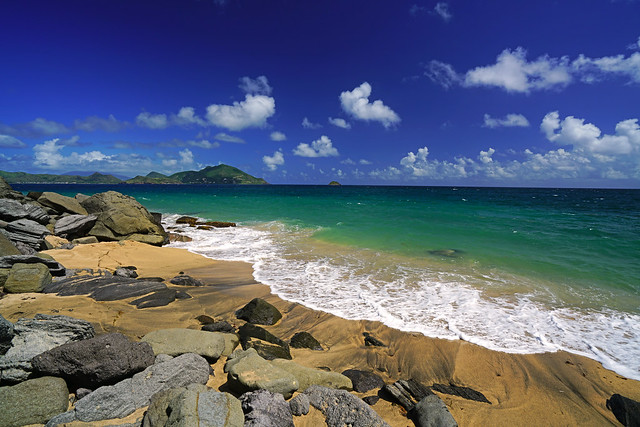 Rocky shore of Lovers Beach, Nevis