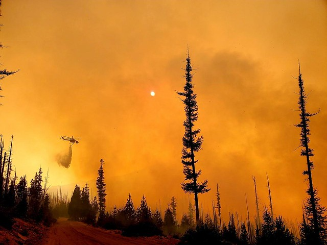 Fire conditions challenge firefighters on the Lionshead Fire