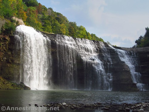 More head-on view of Lower Falls from the rocks on the other side of the gorge, Rochester, New York