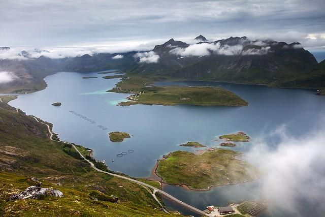 Selfjord and Torsfjord from Volandstinden