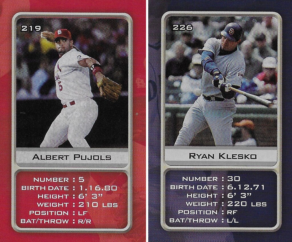 2003 Sports Vault MLB Stickers (Albert Pujols-Ryan Klesko)