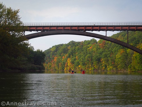 Kayakers under the pedestrian bridge between Maplewood and Seneca Parks, Rochester, New York