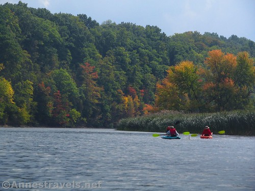 Kayaking a short way south of Turning Point Park, Rochester, New York