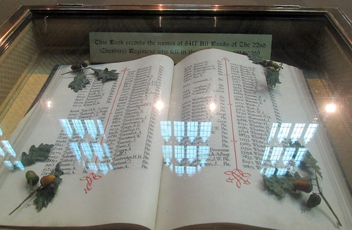 Chester Cathedral, Great War Cheshire Regiment Roll of Honour
