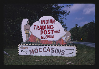 Indian Trading Post and Museum sign, Route 23, Tawas City, Michigan (LOC) | by The Library of Congress