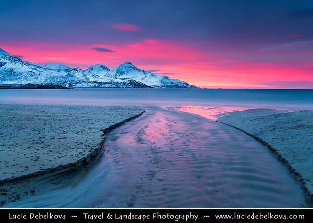 Norway - Arctic Norway Fjords - Tromso & Kvaloya Area - Grotfjord at pink sunset