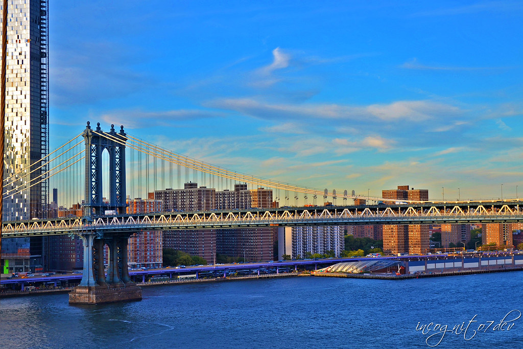 Manhattan Bridge & Lower East Side Manhattan View from Brooklyn Bridge Brooklyn New York City NY P00682 DSC_1374