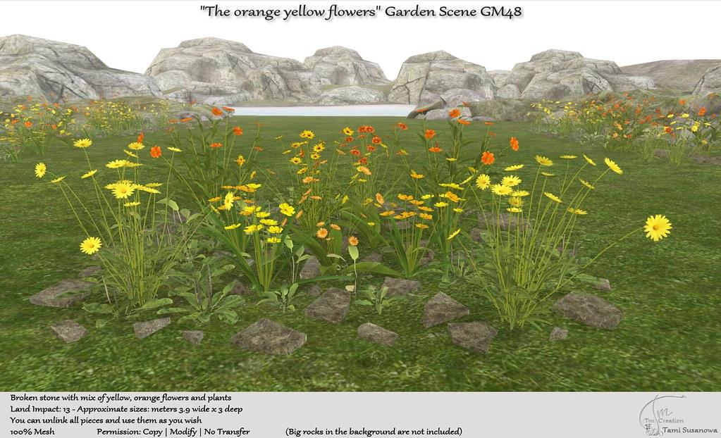".:Tm:.Creation ""The orange yellow flowers"" Garden Scene GM48"