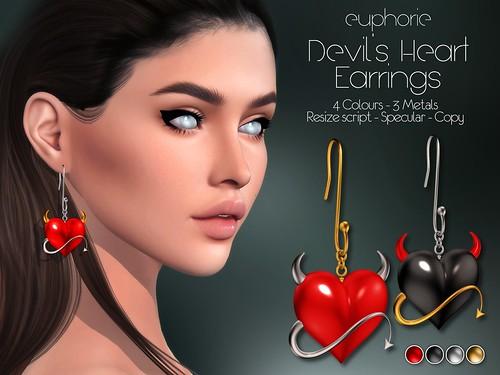 Euphorie - Devil's Heart Earrings - HUNT ITEM