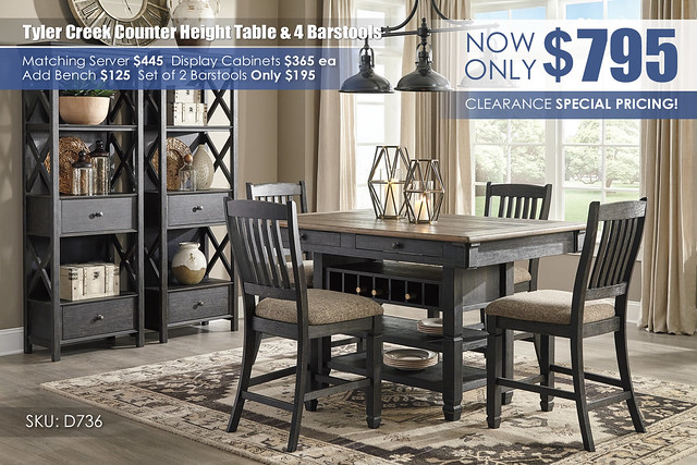 Tyler Creek Counter Height Table & 4 Barstools_D736-32-124(4)-76(2)-R400