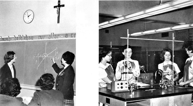 Students in various classrooms Aquinas Catholic Academy for girls 1963 Tacoma, WA
