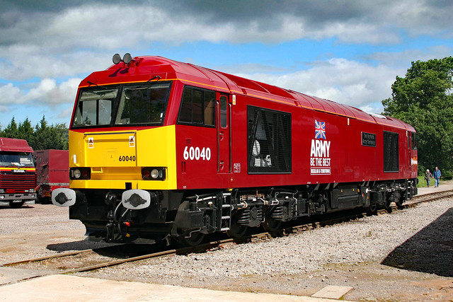 60040 `The Territorial Army Centenary` in new DB Army livery at Merehead Quarry 22/06/2008