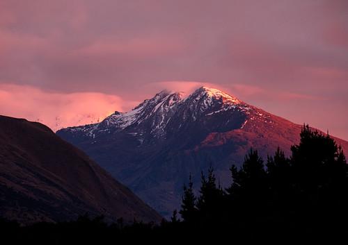 ankh caldwell dawn mountains newzealand pink purple snow sunrise wanaka
