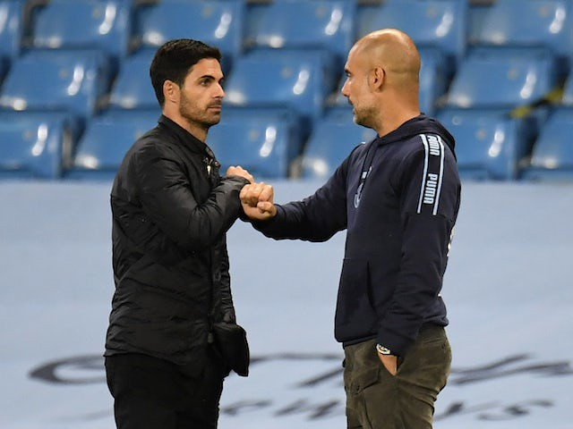 Mikel Arteta against Pep Guardiola before Match of the Day 17/10/20
